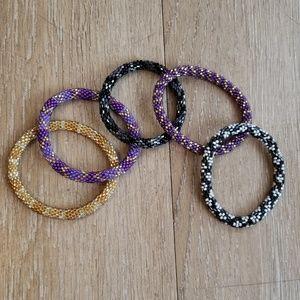 Beaded Bracelets. Set of 5